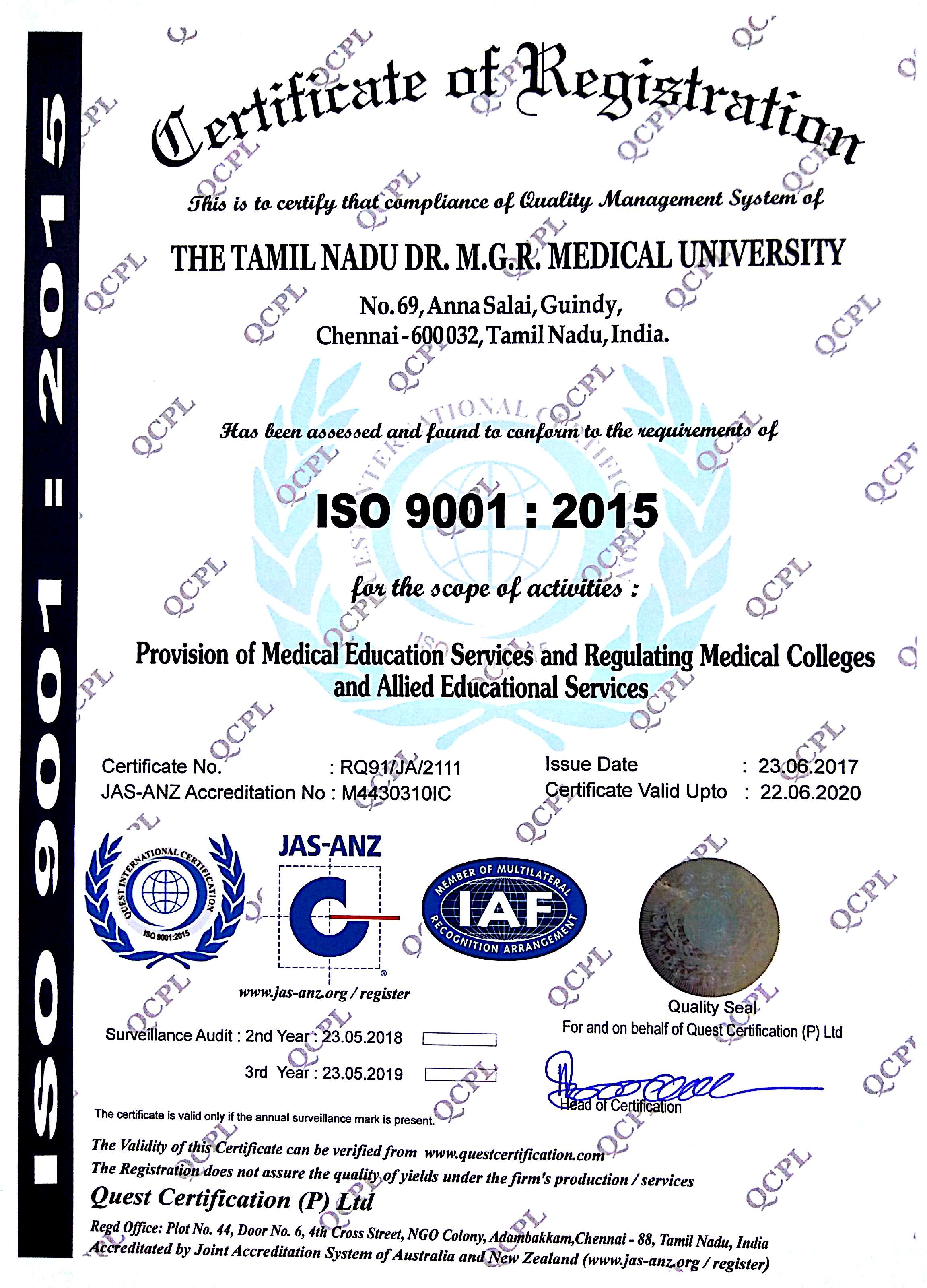 Iso Certificate The Tamilnadu Drmgr Medical University